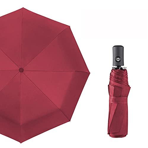 Yidieman Reise-Klappschirm,Winddicht, UV-Schutz,Leichter robuster automatischer kompakter tragbarer Golfschirm-Rotwein-B