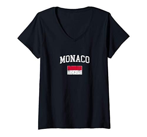 Donna Bandiera Monaco Vintage origini monegasco Maglietta con Collo a V
