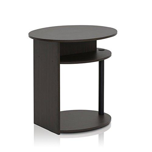 Furinno JAYA Ovaler Beistelltisch mit moderen Design, holz, Walnuss/Schwarz, 39.37 x 39.37 x 49.02 cm