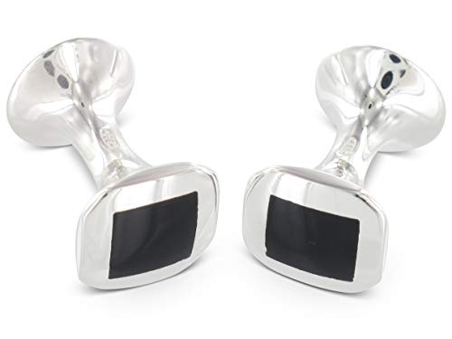 BROOKER Manschettenknöpfe Onyx Silber