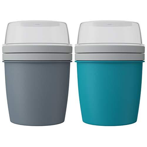 WELLGRO Müslibecher To Go Joghurtbecher mit Müslibehälter - BPA frei - 600 ml, 15,5 x 11,5 cm (HxØ) - Hergestellt in der EU - Menge und Farbe wählbar, Farbe:Grau/Türkis, Stückzahl:2 Stück