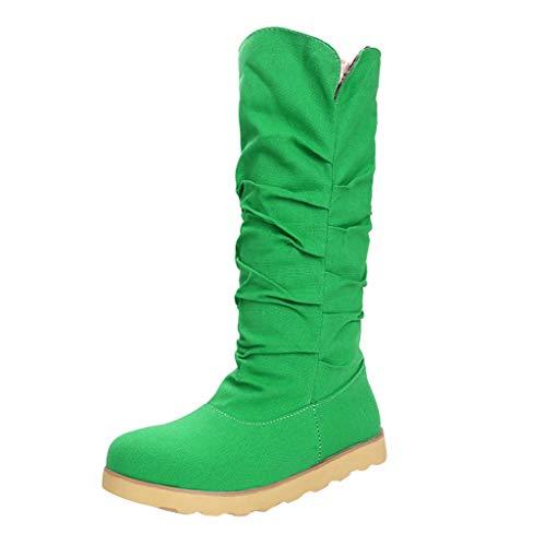 SuperSU-Stiefel Damen Casual Hohe Stiefel Flache Schlupfstiefel Einfarbig Boots, Frauen Retro Bequeme Winterstiefel Wild rutschfeste Schneestiefel Große Größen Römerstiefel