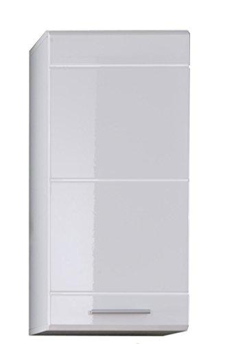 trendteam Badezimmer Hängeschrank Wandschrank Mezzo, 37 x 77 x 23 cm in Weiß Hochglanz mit viel Stauraum