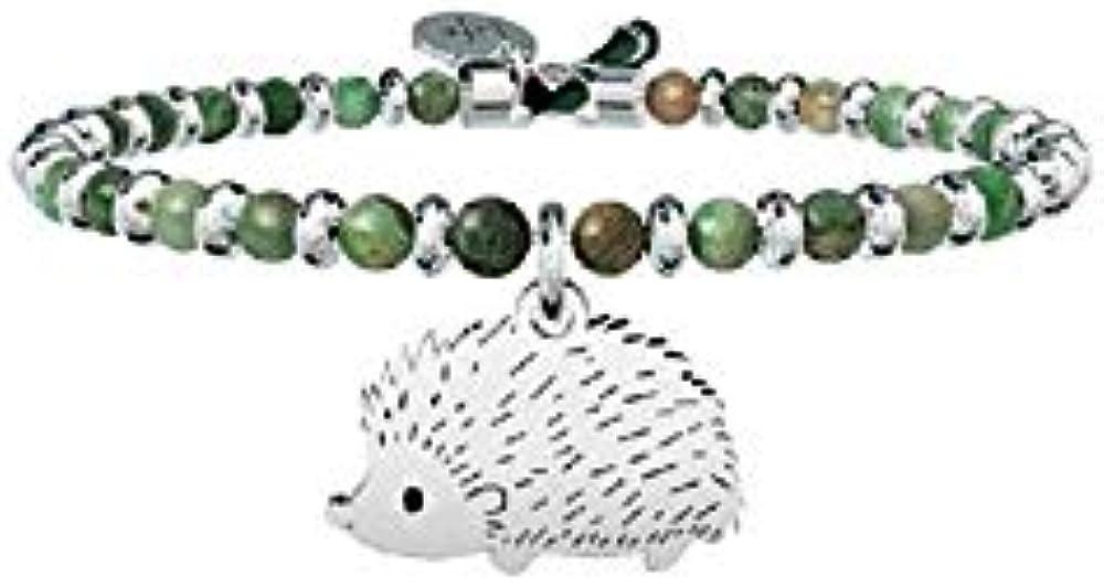 Kidult,bracciale,bangle con filo armonico in acciaio sfere in agata verde e ciondolo riccio. 731542