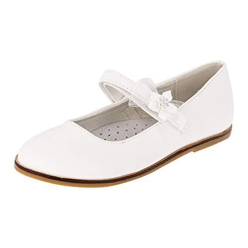 Giardino Doro Edle Festliche Innen Leder Kinder Mädchen Schuhe Ballerinas mit Klettverschluss M524ws Weiß 35 EU