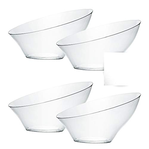 Plasticpro Disposable 6 oz Angled Plastic Bowls Round Small,Elegant for Party's, Snack, Candy, Clear Pack of 8