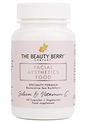Vegan Collagen + Vitamin C + Bamboo Silica + SeaBerry Supplement | Best Beauty & Skin Vitamins for Women | Facial Aesthetics Food™ | Anti Aging + Acne Superfood Powder Capsules