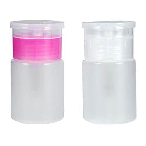 ROSALIND 2 Pack 60 ml vacío plástico bomba botella líquido alcohol pulido uñas limpiador dispensador de botellas maquillaje rellenable recipiente (03)