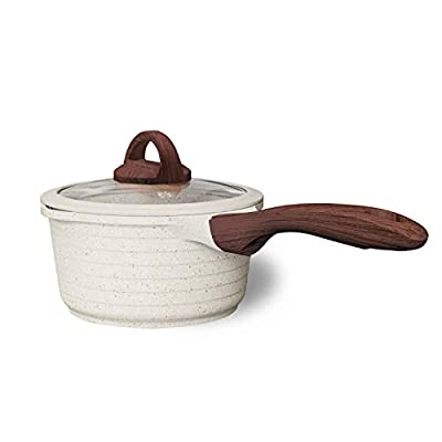 JEETEE 2.5 Quart Nonstick Saucepan Stone Coating Milk Pan with Silicone Rim Lid and Bakelite Handle Milk Saucepan Suitable For All Stove Induction Compatible (Beige)