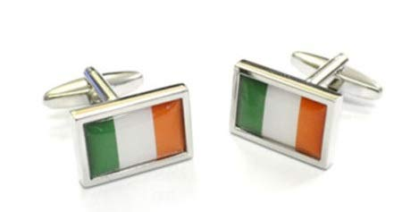 Onyx Art métallique Drapeau Irlande Irlande Boutons de manchette dans une boîte cadeau Plus gratuit Premier Vie Stylo – Ck117