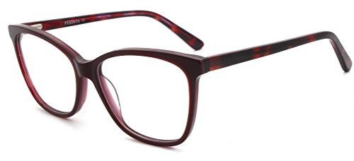 FERAVIA Eleganti occhiali da vista classici da donna con lenti trasparenti ottiche quadrate in acetato lucido senza prescrizione