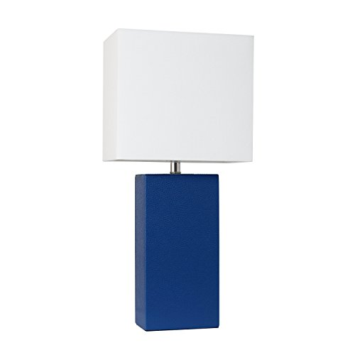 Elegant Designs LT1025-BLU Modern Leather Table Lamp with White Fabric Shade, Blue