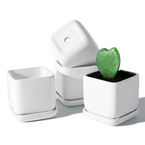 (50% OFF Coupon) Square Succulent Ceramic Plant Pots 3.5″ Set of 4 $12.00