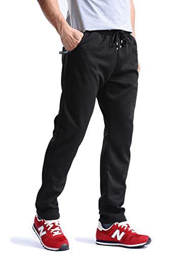 MAGCOMSEN Mens Joggers Zipper Pockets Workout Pants for Men Sweatpants Open Bottom Regular Fit Running Pants Yoga Pants Athletic Pants Gym Pants for Men Black