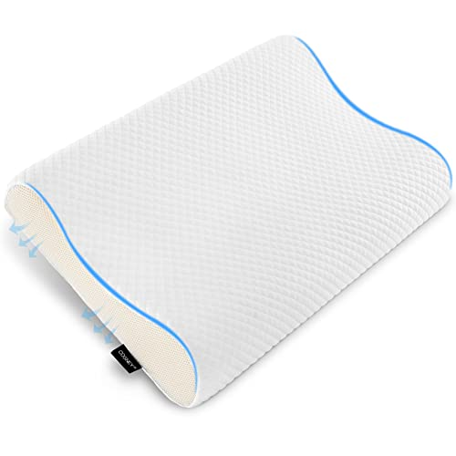 Cosney Cervical Memory Foam Pillow,Contour Pillows for Neck Pain,Cervical Support Pillow for Sleeping,Ergonomic Pillow for Back Sleepers and Stomach Sleep -White (Queen Size)