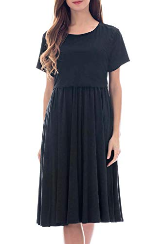 Smallshow Women's Short Sleeve Patchwork Nursing Dresses for Breastfeeding Medium Black