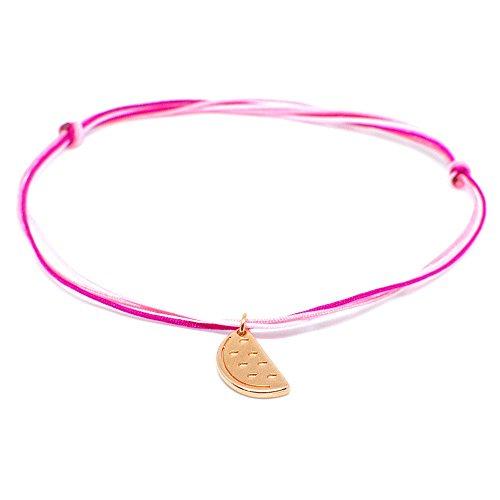 Fußkettchen Pink-Rose mit Melonen-Anhänger in Rosegold - SelfmadeJewelry HANDMADE Fusskette