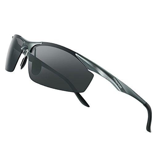 PAERDE偏光太阳镜驾驶男性紫外线防护金属框架设计太阳眼镜盒(灰色)