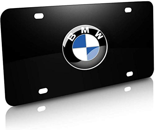 Black 3D Stainless Steel BMW Emblem License Plate Frame,Decorated BMW License Plates,License Plate Cover for All BMW,Screw Set Included