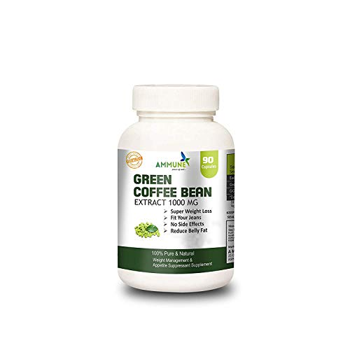 AMMUNE 100% Pure Green Coffee Bean Extract Capsules Supplement - Max Strength Natural GCA Cleanse for, 1000mg Daily Supplement, Healthy 90 Capsules Item Name (aka Title)