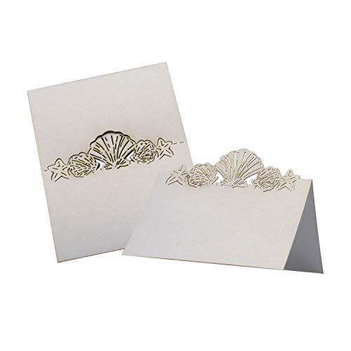 50 Pack Beach Themed Wedding Place Card Laser Cut Sea Shell Seashells Wedding Table Decoration Ornament by DGQ