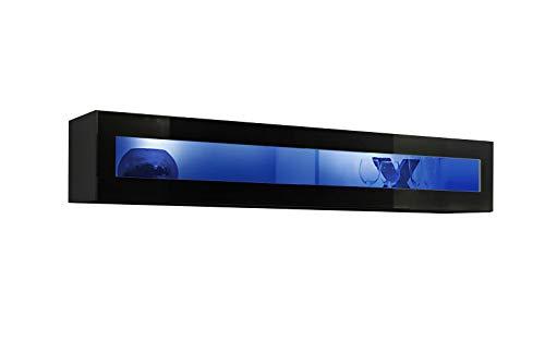 ASM FLY 51 - Vitrina flotante horizontal de 160 cm de ancho para puerta de cristal con luces LED, color negro brillante
