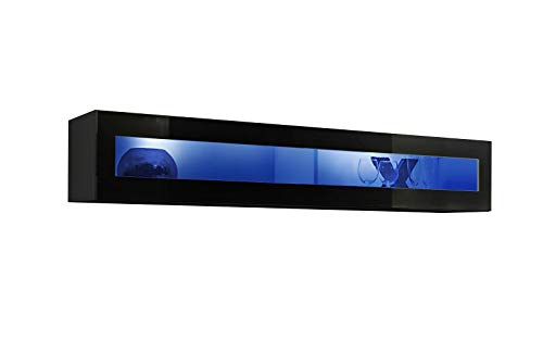 ASM FLY 51 - Vitrina flotante horizontal de 160 cm de ancho para puerta de cristal con luces LED, color negro brillante