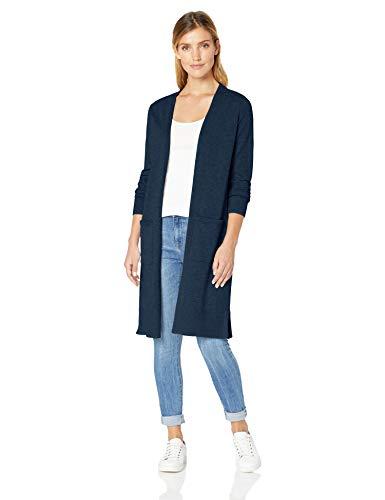 Amazon Essentials Damen-Strickjacke, leicht, längere Länge, Blau (Navy Nav), X-Large