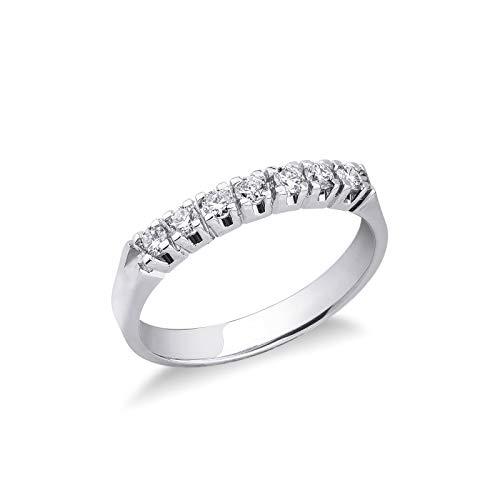 Gioielli di Valenza - Anello Veretta a 7 pietre in Oro bianco 18k con Diamanti ct. 0,30 - FE7RA030BB - 9