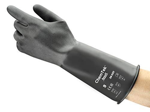 Ansell Alphatec 38-520 Chemikalien Handschuhe, Maximaler Schutz für Gefährliche Arbeiten, Weiches und Komfortables Design, Arbeitshandschuhe Wiederverwendbar, Latexfrei, Größe M (1 Paar)