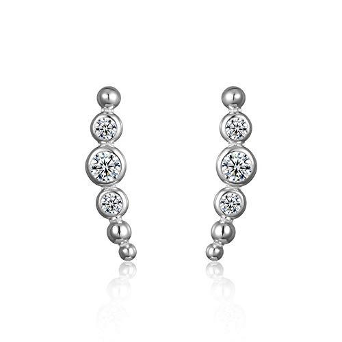 Pendientes simples de plata de ley 925, pendientes circulares redondos apilables para mujer, regalo de joyería de boda