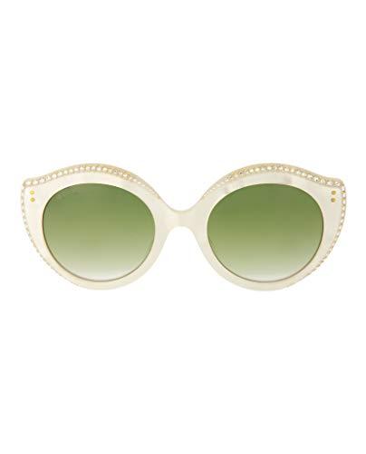 Gucci GG0214S 004 Gafas de sol, Blanco (4/Green), 52 para Mujer