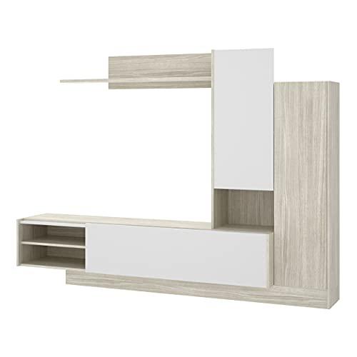 Homely - Mueble de salón Modular ELM Color Blanco Brillo de 218 cm