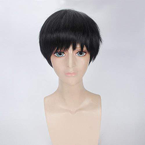 PANQQ Anime Tokyo Ghoul Ken Kaneki White Black Short Wig Cosplay Costume Ken Kaneki Heat Resistant Synthetic Hair Men Cosplay Wigs Black