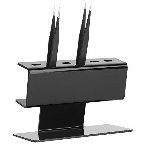 Salmue Support de Pince à épiler, Extension de Cils Support de Pince à épiler en Plastique 6pcs Positions de Support, Outils d'affichage de Pince à épiler pour l'extension de Cils(Noir)