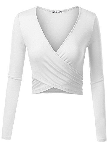 MSBASIC Einzigartiges Cross Wrap Slim Fit Langarm Crop Top mit tiefem V-Ausschnitt 18025-2, Weiß, S