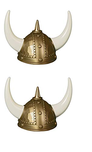 Ifavor123 Set of 2 Adult Viking Warrior Horns Helmets for Halloween Costume Dress Up Football Fan Wearable Plastic Hat Helmets