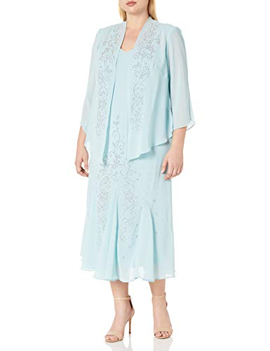 R&M Richards Women's Plus Size Beaded Chiffon Jacket Dress, Slate, 14W (Apparel)