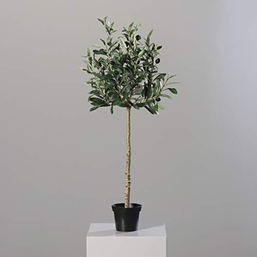 mucplants Künstlicher Olivenbaum mit ca. 13 schwarzen Oliven im schwarzen Topf Höhe 82cm Topfpflanze Kunstpflanzen Kunstbaum Olive