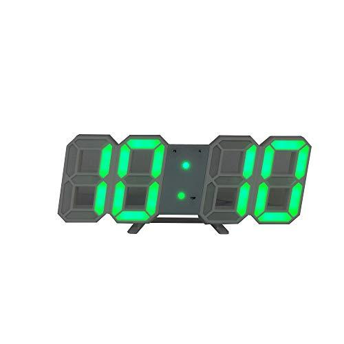 DIYARTS Reloj Despertador Digital LED Reloj de Pared Inteligente de Moda Puede Ajustar Automáticamente Brillo LED Noche para El Dormitorio (Black - White)
