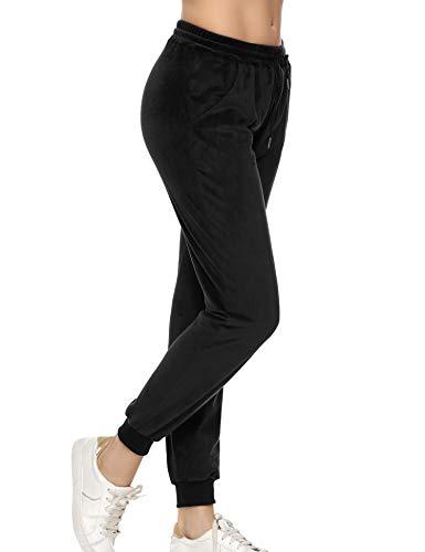 Aibrou Pantalones Deportivo para Mujer,Chandal Terciopelo con Cordones Bolsillos para Yoga Jogger Deporte en Casa,Pijamas