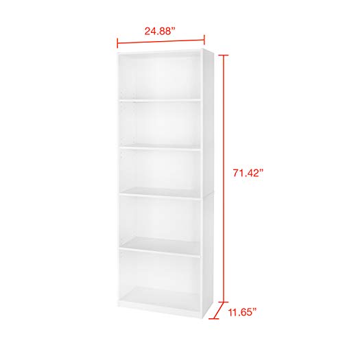 Mainstay 71 5-Shelf Standard Bookcase in Black with 16 x 20 Wall Frame Bundle Set