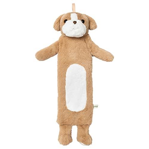 Borsa dell'acqua calda per bambini, 0,9 litri, con morbido rivestimento in pelliccia sintetica, borsa da letto in gomma naturale, cuscino termico diversi modelli, testato TÜV, nuovo modello (cane)