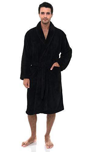 TowelSelections Herren Bademantel aus Fleece, sehr weich, hergestellt in der Türkei - Grau - Large/X-Large
