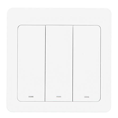 Interruptor WiFi inteligente, equipo de control de distribución doméstico Interruptor WiFi inteligente de 3 vías, 86 tipos de control de voz de 3 vías para el hogar para luces LED domésticas