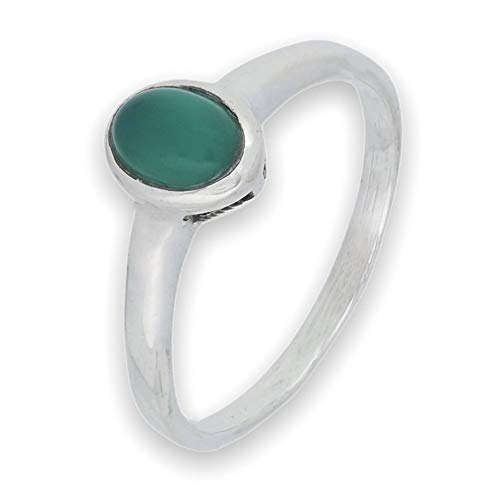 Anillo de plata de ley 925 verde ónix (No: MRI 199), Ringgröße:53 mm/Ø 16.9 mm
