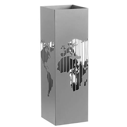 Hogar y Mas Paragüero de Metal Moderno Mapamundi, Paragüeros Originales 15,5x15,5x49 cm - Gris Claro