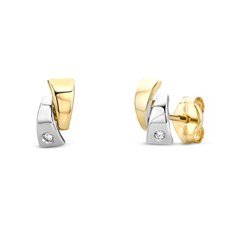 Miore Ohrringe Damen Ohrstecker  Bicolor Gelbgold / Weißgold 14 Karat / 585 Gold  Diamant Brillianten