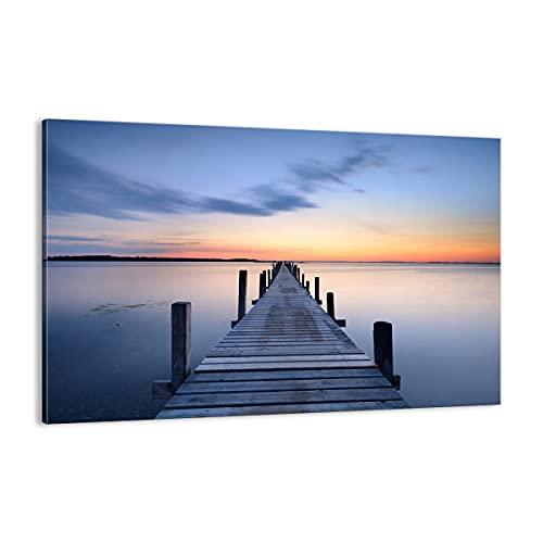 Cuadro sobre lienzo - Impresión de Imagen - Puesta del sol lago agua puente - 120x80cm - Imagen Impresión - Cuadros Decoracion - Impresión en lienzo - Cuadros Modernos - AA120x80-2508