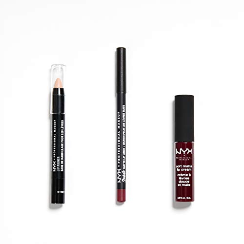 NYX Professional Makeup Lip Kit Copenhagen, Soft Matte Lip Cream, Suede Matte Lip Liner, Lip Primer,...